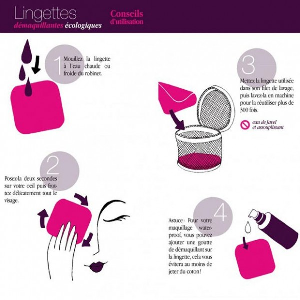 Directions for use of reusable makeup remover pads Lamazuna