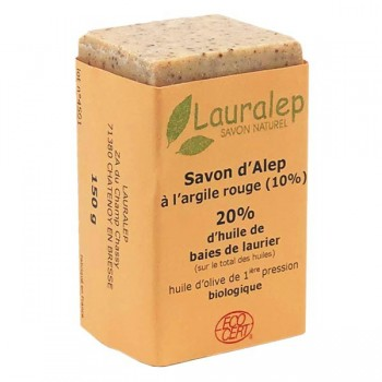 Organic Aleppo soap with red clay 150g - Lauralep