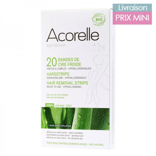 Organic aloe vera and beeswax cold wax strips for body depilation - Acorelle