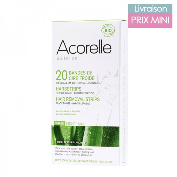 Organic aloe vera and beeswax cold wax strips for facial hair depilation - Acorelle